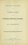 Forty-Ninth Annual Report of the Directors of the General Hospital Society of Connecticut